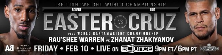 Latest Easter vs. Cruz Luis Cruz Rau'shee Warren Robert Easter Jr. Warren vs. Zhakiyanov Zhanat Zhakiyanov
