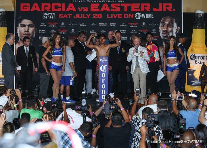 Mikey Garcia Garcia vs. Easter Jr. Luis Ortiz Ortiz vs. Cojanu Razvan Cojanu Robert Easter Jr.
