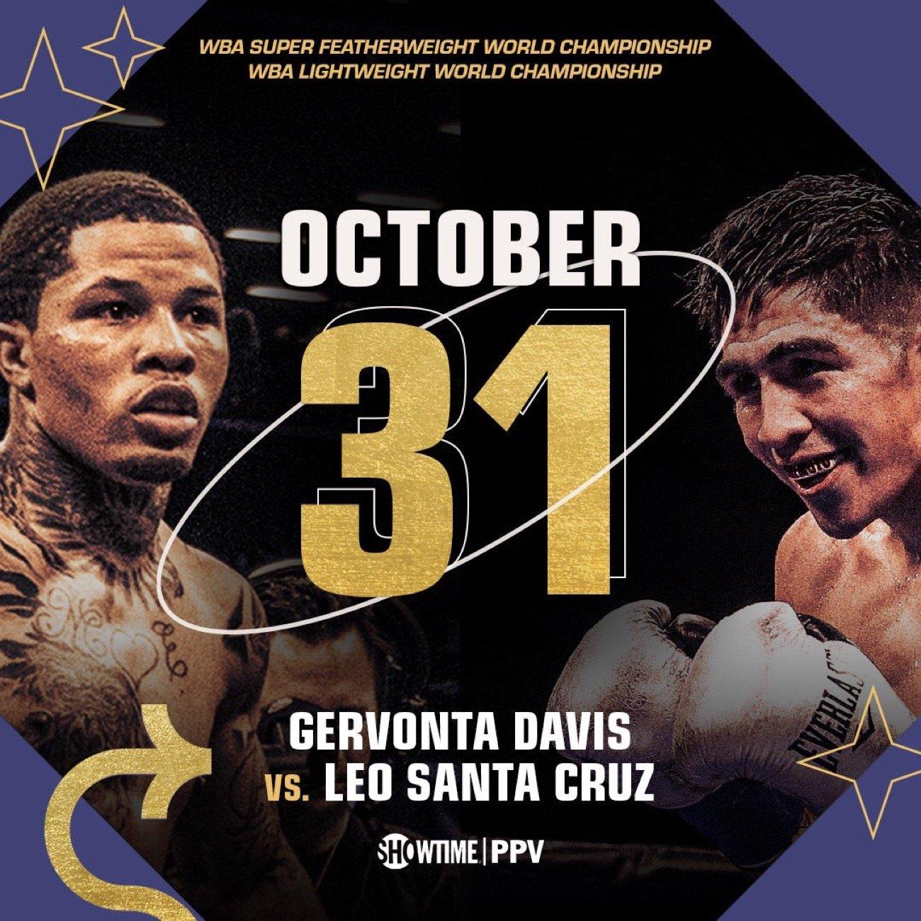 Santa Cruz Halloween 2020 Gervonta Davis and Leo Santa Cruz to fight on Halloween on Oct.31